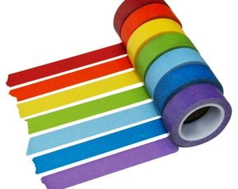 Rainbow Washi Tape Set, 7 Rolls, 15mm x 10m Each, Set Discount