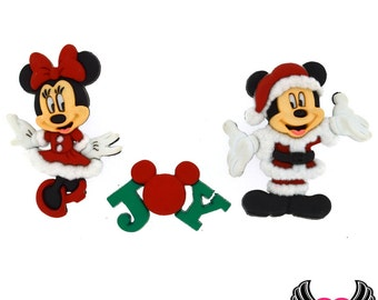 Disney MICKEY MOUSE & MINNIE MoUSE Christmas Santa and Mrs. Claus, Jesse James Licensed Buttons Or Make into Flatback Cabochons