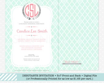 Debutante Invitation, Teen party, wedding shower, birthday party, sorority invite, 5x7 front and back template by The Silly Nilly Studio