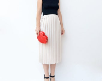 Vintage white plaid midi skirt