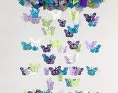 Butterfly Nursery Mobile in Purple Lavender Green Turquoise & White- Photography Prop, Baby Shower Gift