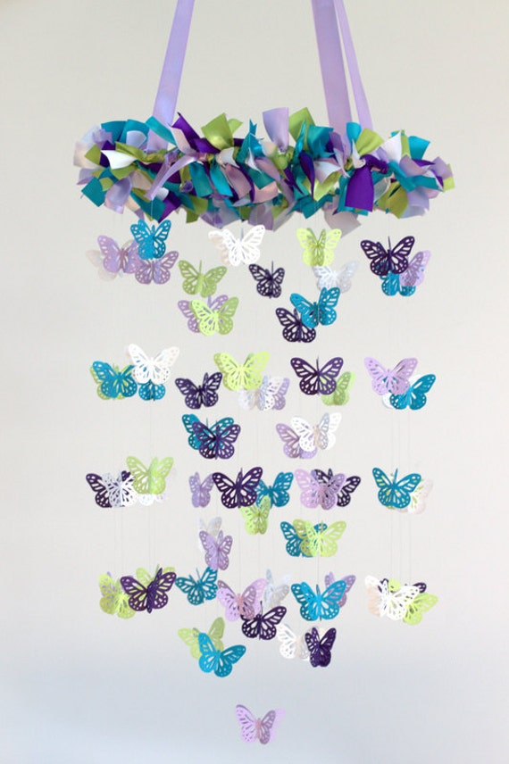 butterfly nursery mobile in purple lavender by. Black Bedroom Furniture Sets. Home Design Ideas