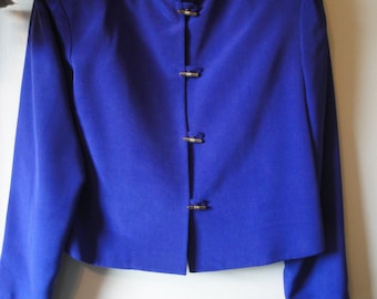 Vintage 100% Silk Rich Blue with a Hint of Purple Lined Pantsuit