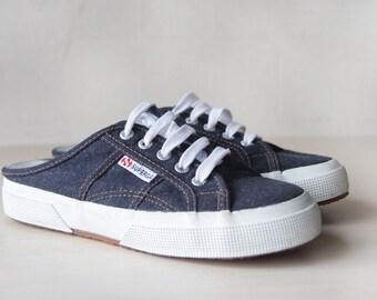 SUPERGA Blue denim white platform slip on mules sneakers 37