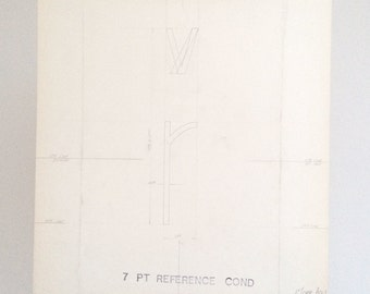Letter lower case r, industrial drawing, original font casting drawing, typographic drawing: Listing is for 1 drawing. 1967.