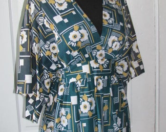 KIMONO PANTS SUIT / 70's Gold Circle Green and Gold Floral Flowers Separates Top Blouse Bow Tie Pants Matching Deadstock High Waisted Size S