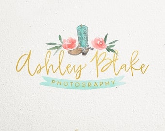 Custom Premade Logo Watercolor Cowboy Boot photography or boutique Logo Design - Vector - Photoshop files Included
