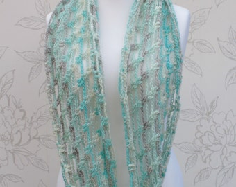 Long Infinity Cowl, White/Grey/Turquoise Crochet Cowl, Summer Infinity Cowl, Trellis Scarf, Multicolour Infinity Cowl, Gift for Mom