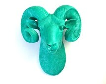 TEAL Large Faux Taxidermy Ram Head wall mount wall hanging  decor:  Rodger the Ram in TEAL // nursery decor // office decor // fake animal