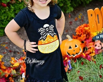 Candy Corn dress- Girls candy corn dres-  Halloween dress