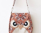 Autumn: Brown Flip Bag, Owl Bag, messenger bag, tote, animal, women, kid bag, children bag, fabric bag, girl bag, boy bag, orange, brown