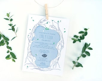 Woodsy Tree Baby Shower Invitation Earthy Whimsical Watercolor