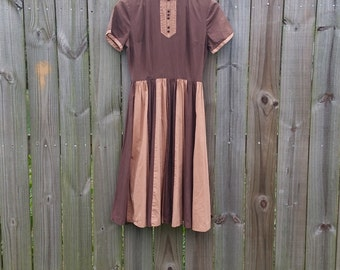 XS Extra Small Vintage 50s Two-tone brown Metal Zipper Fit and Flare Fall Autumn Cotton Dress
