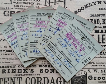 Vintage 1940's Pullman Tickets | Railroad Railway Transportation | Paper Ephemera Ticket Lot