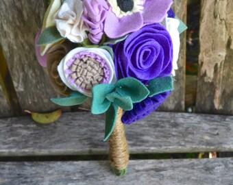 Felt Flower Bridal bridesmaids Bouquet - Custom / Made to Order - purple lavender violet