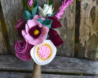 Felt Flower Bridal bridesmaids Bouquet - Custom / Made to Order - pink rose burgundy