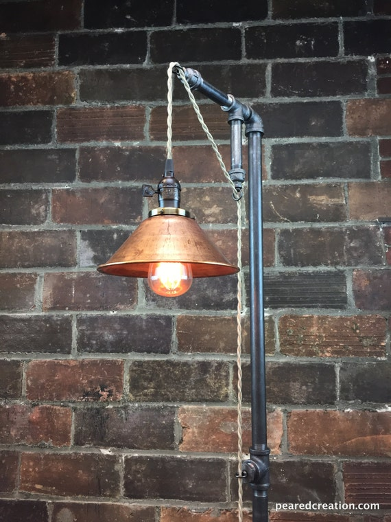 Industrial floor lamp copper shade edison bulb like this item mozeypictures Choice Image