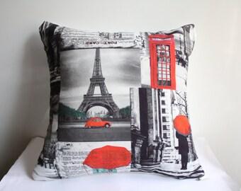 Paris Pillow Cover ,Eiffel Tower Pillow Case ,Orange Red Paris Pillow Case , Blue Paris Pillow Case