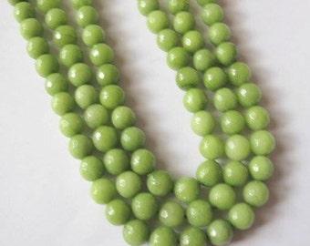 8 mm faceted quartz beads, full strand, apple green, 47 beads, round, semi-precious