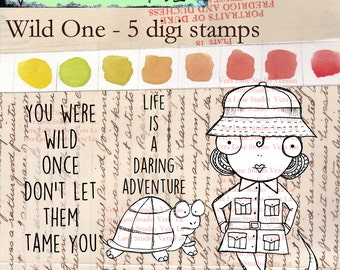 Wild One - Whimsical wild life lover with crocodile and tortoise digi stamp set available for instant download on Etsy.
