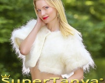 Custom made hand knitted mohair sweater bolero in ivory off white, cropped fuzzy top SuperTanya