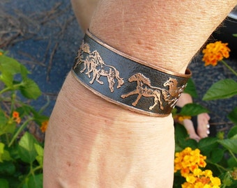 Horse Bracelet, Horse Cuff, Wild Horses, Equestrian Jewelry, Copper Jewelry, Cowgirl Jewelry, Country Wedding, Rustic Cuff, Gift for her