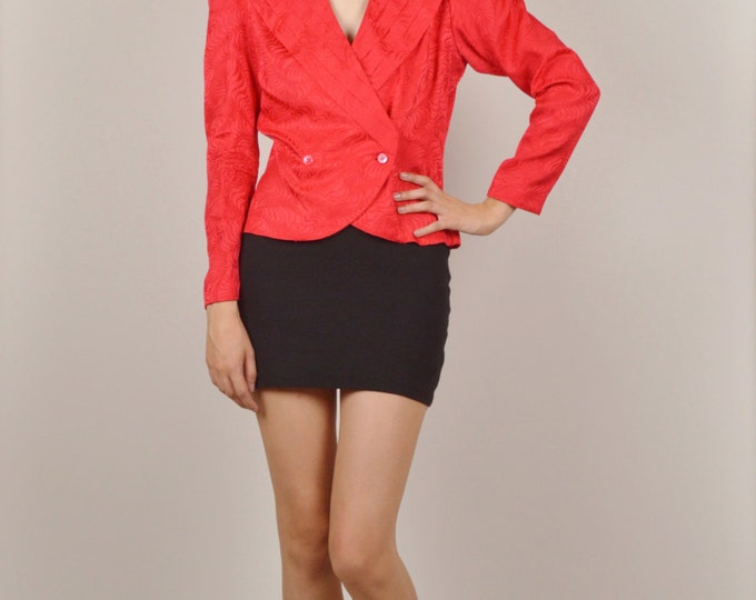 Vintage Red Silk Blouse Shirt 80's Long Sleeve