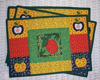Appliqued Country Patchwork Apple Embroidered Placemats and Matching Coasters