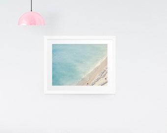 Aerial Beach Print, Beach Wall Art, Aerial Beach Photo, Beach Umbrella Art, Ocean wall decor, Large wall print, Beach Photography, Gift