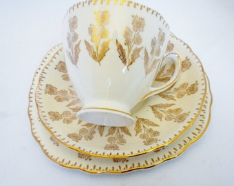 Colclough Bone China Tea Cup Set, 3 Piece, Made in England, Gold and White Footed Tea Cup, Royal Doulton