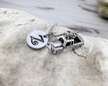 Pickup Truck Necklace - Personalized Charm Necklace - Initial Necklace - Monogram Necklace - Hand Stamped Necklace
