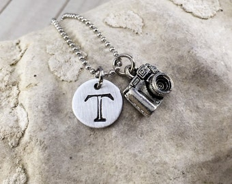 Initial Necklace,Hand Stamped,Charm Necklace,Gift for Photographer,Pewter Camera,Camera Necklace,Photographer Jewelry,Photography Necklace