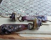 Starscape- purple black pink enamel earrings. lampwork beads. delicate long. gypsy bohemian enamel statement. Jettabugjewelry