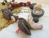 Forest Glades- rustic chunky bracelet. artisan beads. black. dark red. wooden beads. lava beads. autumn boho  jewelry. jettabugjewelry