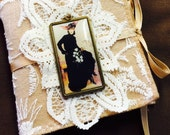 Victorian Needle Book, Sewing, Embroidery, Needlework, Cross Stitch, Needle Keeper, Tan Felt , Lace