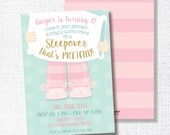 pink gold glitter mint sleepover birthday invitation - pink, gold glitter, teal pretend sleepover invitation -sleep over