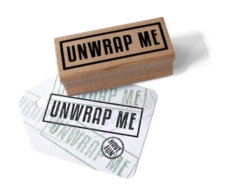 UNWRAP ME stamp with border