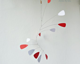 White and red Hanging mobile, Calder inspired, Room decor,Art for home