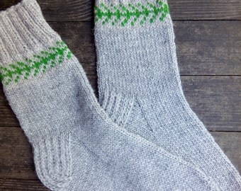 Hand Knitted Wool Socks For Men-Colorful Wool Socks-Size Large US 11 /EU44