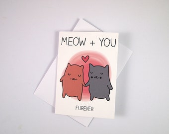 Cat valentines card -  I like Cats - cat anniversary card - Cat puns - Funny cat card - Engagement card - romantic cat card - cats - Love