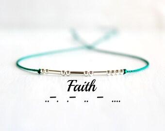 Faith Minimal Morse Code Bracelet Motivational Jewelry Thin Sterling Silver Beaded Silk Cord Inspiration Bracelet