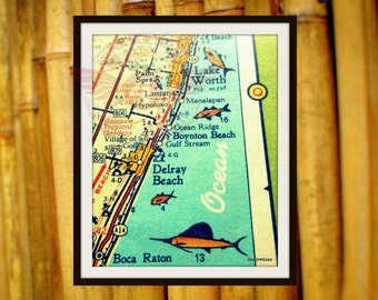 Florida map art Delray Beach map, Delray Beach house art, Boca Raton, Lake Worth, Manalapan mid century map, Boynton vintage Florida map art