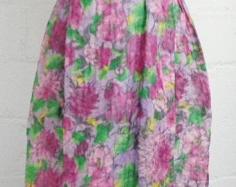 Vtg 50s, 60s ABSTRACT Floral Maxi CRINKLE Dress, Large, 10-12