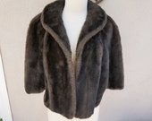 Vintage Brown Fur Stole, Brown Fur Shrug, Brown Fur Coat, Brown Fur Shawl,  Brown Fur Capelet Jacket, Hollywood Glamour, Real Genuine Fur