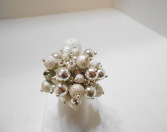 Vintage Silver Beaded Stretch Ring (3655)