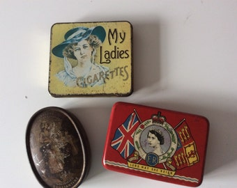 Lot of Vintage Packaging Tin Boxes- Storage- Advertising- Vintage Packaging- Instant Collection Joblot- Coronation, My Ladies Cigarettes