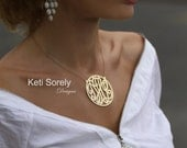 14K Gold Filled - Yellow or Rose Gold - Handmade Script Monogram Necklace - Small To Large Size Initials (Order Any Initials)