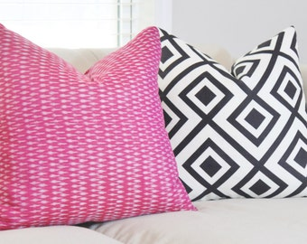 Raspberry Pink Ikat Pillow - Modern Geometric Pink & Gray Pillow Cover - Throw Pillow - Designer Pillow - Fuchsia Ikat Pillow - Pink Decor