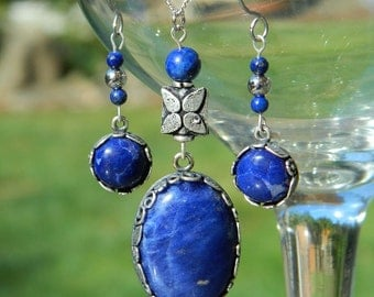 Eirene ~ Blue Sodalite and Lapis Lazuli Gemstone Jewelry Set, Antiqued Silver, Necklace and Earrings, Denim Blue