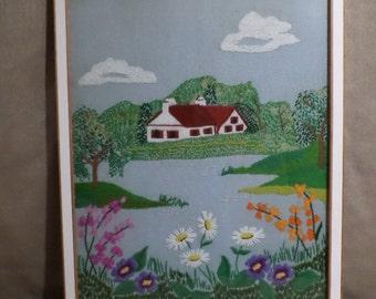 Beautiful Handmade Needlework, Lake House Scene.  Amazing Detail. Professionally Framed.